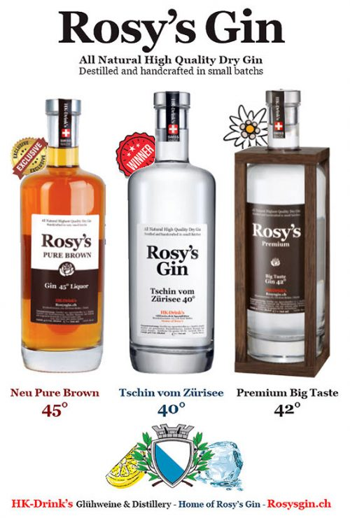 Rosy's Gin - High Quality Dry Gin - Pure Brown Liquor Premium Big Taste aus Zürich